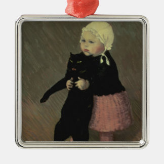 A Small Girl with a Cat, 1889 Christmas Ornament