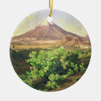 A Small Volcano in Mexican Countryside, 1887 (oil Round Ceramic Decoration