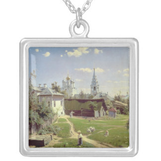 A Small Yard in Moscow, 1878 Square Pendant Necklace
