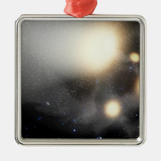 A smash-up of galaxies Silver-Colored square decoration