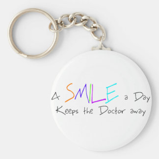 A Smile a Day Keeps the Doctor Away Basic Round Button Key Ring