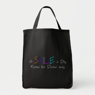 A Smile a Day Keeps the Doctor Away Grocery Tote Bag