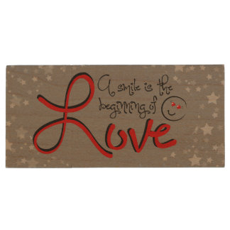 A smile is the beginning of love wood USB 3.0 flash drive