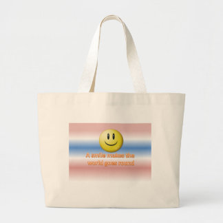 A smile makes the  world goes round jumbo tote bag