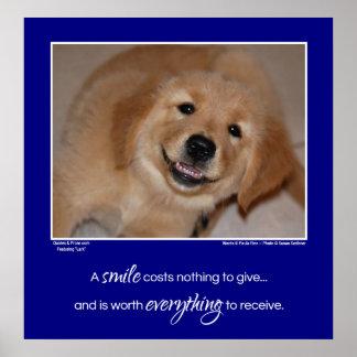 A smile...smiling golden retriever pup poster