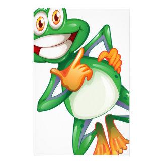 A smiling frog custom stationery