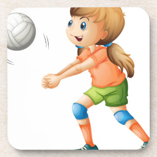 A smiling girl playing volleyball coaster