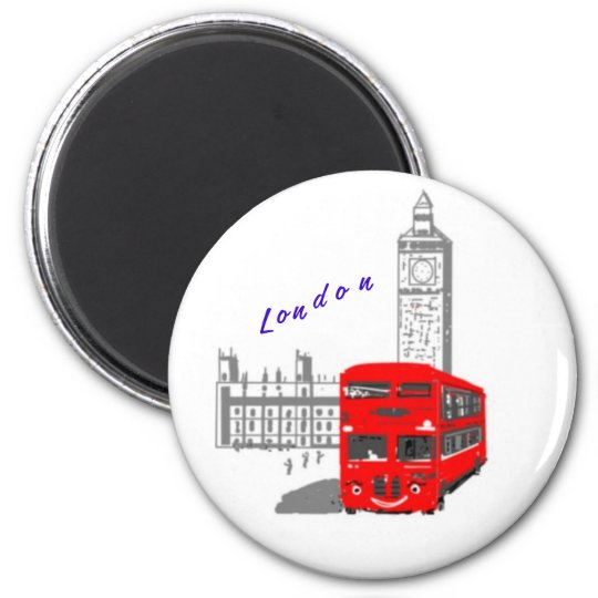 A smiling London Bus 6 Cm Round Magnet