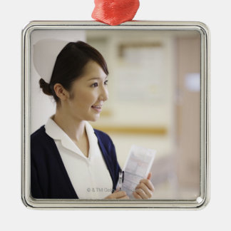 A smiling nurse Silver-Colored square decoration