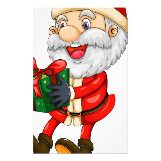 A smiling Santa holding a present for Christmas Personalized Stationery