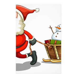 A smiling Santa pulling a sleigh Personalized Stationery