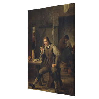 A Smoker Leaning on a Table, 1643 Canvas Print
