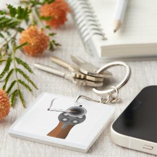 A Smoking Gun Square Acrylic Keychain