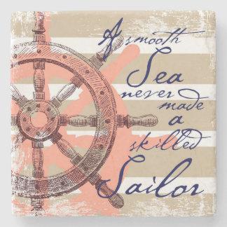 A Smooth Sea never made a skilled Sailor Stone Coaster