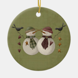 A Snow Couple Ceramic Christmas Ornament