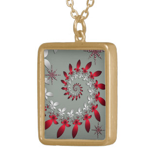 A Snowflake Spiral Gold Plated Necklace