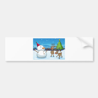A snowman and the reindeers near the christmas tre bumper sticker
