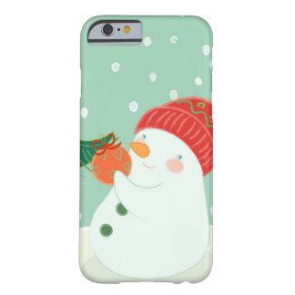 A snowman hanging an ornament on a tree barely there iPhone 6 case