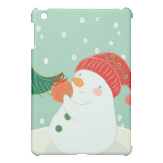 A snowman hanging an ornament on a tree cover for the iPad mini