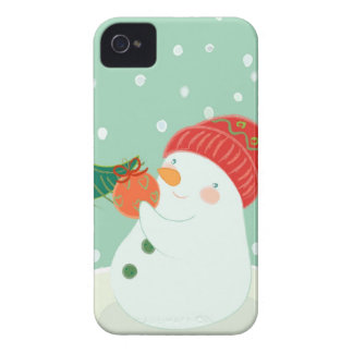 A snowman hanging an ornament on a tree iPhone 4 case