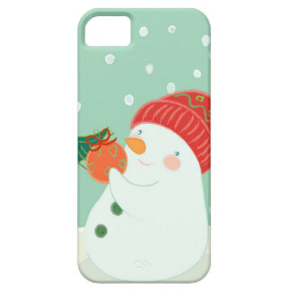 A snowman hanging an ornament on a tree iPhone 5 case