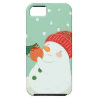 A snowman hanging an ornament on a tree iPhone 5 covers