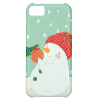 A snowman hanging an ornament on a tree iPhone 5C case