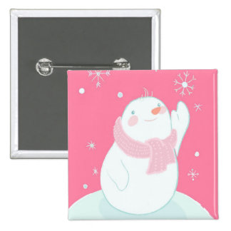 A snowman reaching for a falling snowflake 15 cm square badge