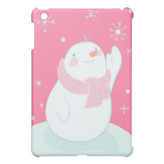 A snowman reaching for a falling snowflake cover for the iPad mini