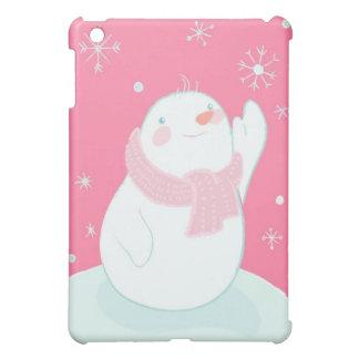 A snowman reaching for a falling snowflake iPad mini covers