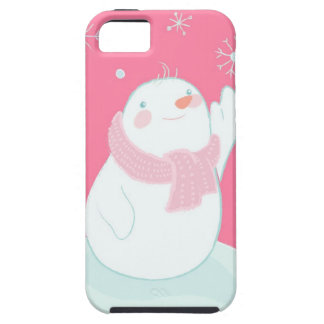A snowman reaching for a falling snowflake iPhone 5 case