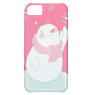 A snowman reaching for a falling snowflake iPhone 5C case