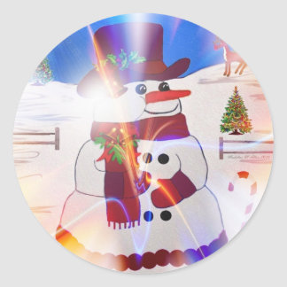 A Snowman's Christmas #28 Round Sticker