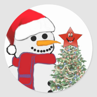 A Snowman s Christmas Round Stickers