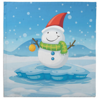 A snowman wearing Santa's red hat Printed Napkin