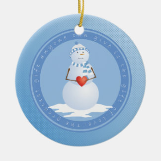 A Snowman With Heart Christmas Ornament