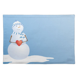 A Snowman With Heart Placemats