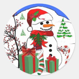 A Snowman's Christmas Round Sticker
