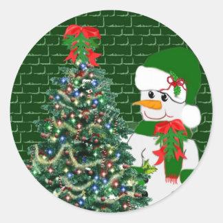 A Snowman's Christmas Classic Round Sticker