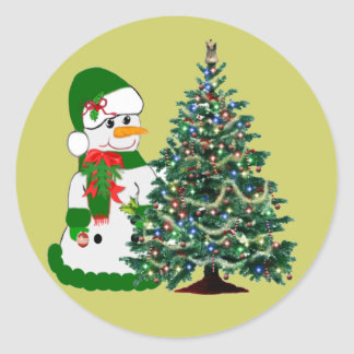 A Snowman's Christmas Round Stickers