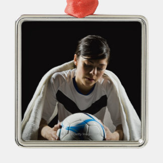 A soccer player 7 Silver-Colored square decoration