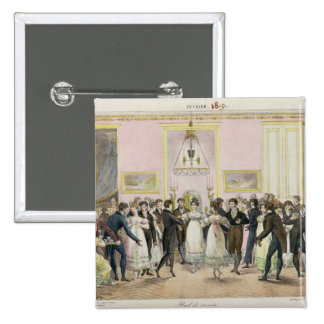 A Society Ball, engraved by Charles Etienne 15 Cm Square Badge