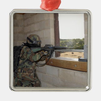 A soldier acts as an opposition force Silver-Colored square decoration