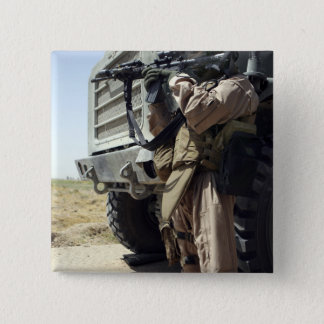 A soldier provides security for Marines 15 Cm Square Badge