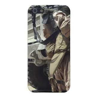 A soldier provides security for Marines iPhone 5/5S Cases