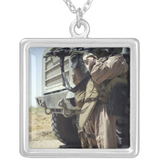A soldier provides security for Marines Silver Plated Necklace