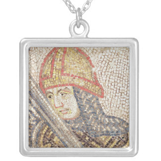 A soldier with a sword silver plated necklace