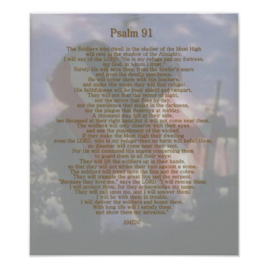 A Soldier's refuge Psalm 91 Poster