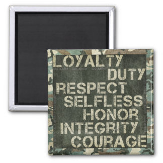 A soldier's values square magnet
