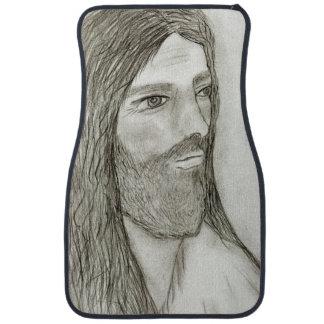 A Solemn Jesus Car Mat